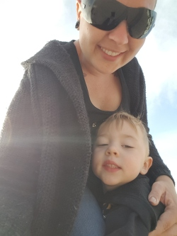 Loving the sun with his mommy